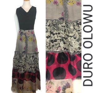 Vintage Duro Olowu Pure Silk Patterned Maxi Skirt
